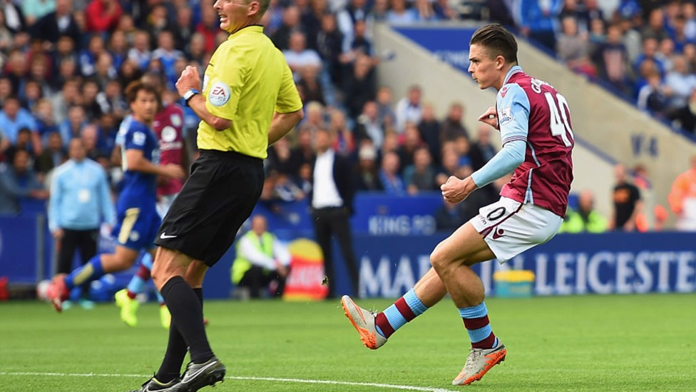 OFF THE MARK: The midfielder curls home his first Villa goal against Leicester in September 2015