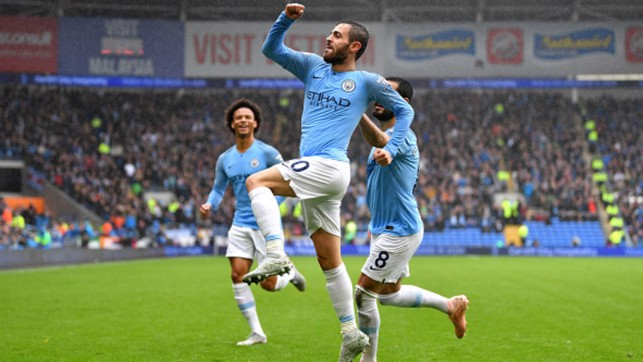 QUICKFIRE DOUBLE : Bernardo Silva scores City's second in three minutes against Cardiff City