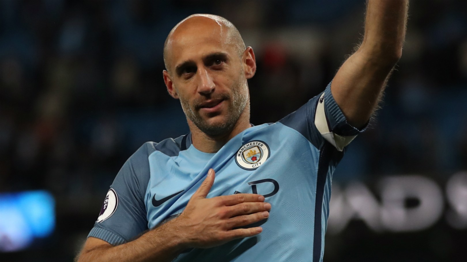 LIONHEART: Pablo Zabaleta bids farewell to the City fans