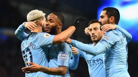 City second goal celebration.