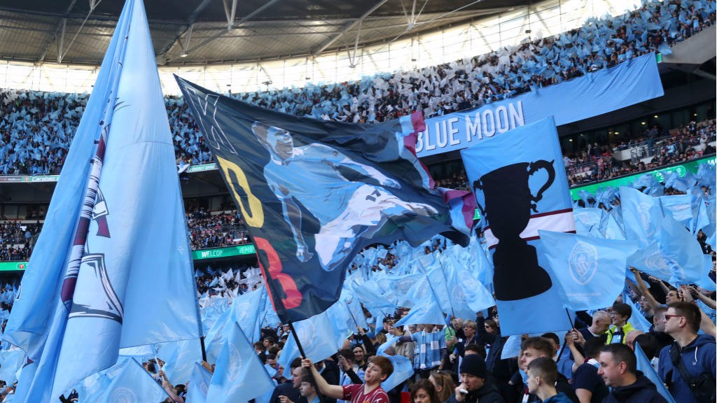 BLUE IS THE COLOUR : Wembley is awash with City fans