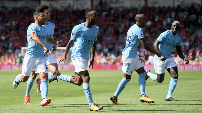 LATE GOAL : Sterling loves a late goal... Remember this beauty against Bournemouth last season?