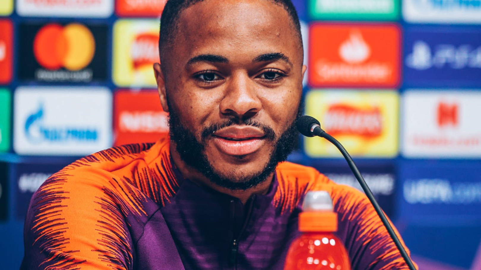STERLING WORK: Raheem Sterling addresses the media, ahead of the game...