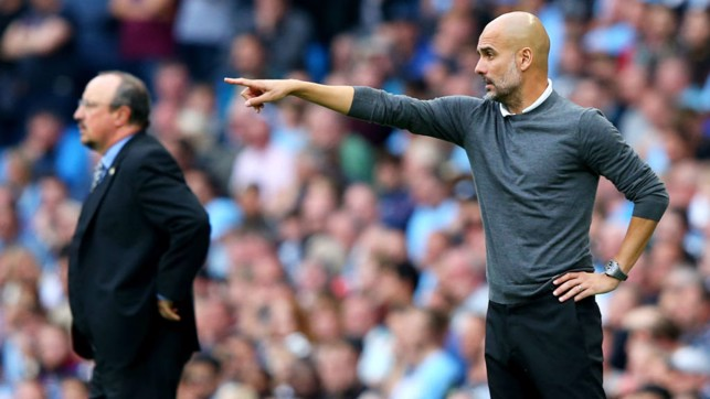 BOSS : Pep Guardiola gives instruction from the sideline.