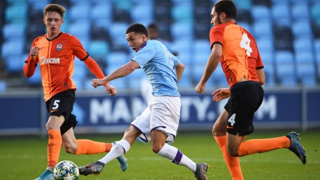 SLICK: Ian Poveda makes it 3-0 for City U19s against Shakhtar Donetsk.