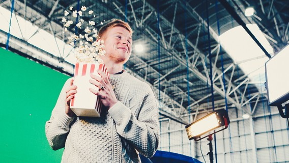 POP CORN ALL-ROUND: Midfielder has fun on set recreating Home Alone