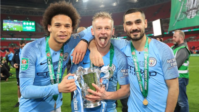 CUP DOUBLE: Leroy celebrates our 2019 Carabao Cup success with Oleks Zinchenko and Ilkay Gundogan