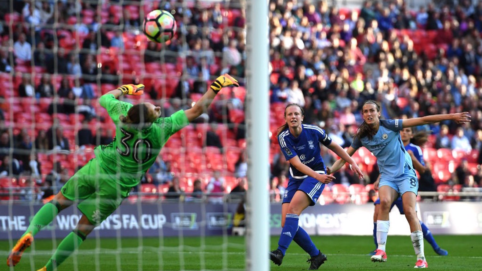 CUP WINNER: Jill Scott rifles home against Birmingham in the 2017 FA Cup final at Wembley.