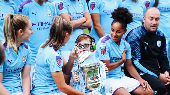 CUP JOY : Jacob had the chance to lift the FA Cup!