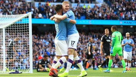 GOAL GETTER: Kevin De Bruyne celebrates against Brighton.