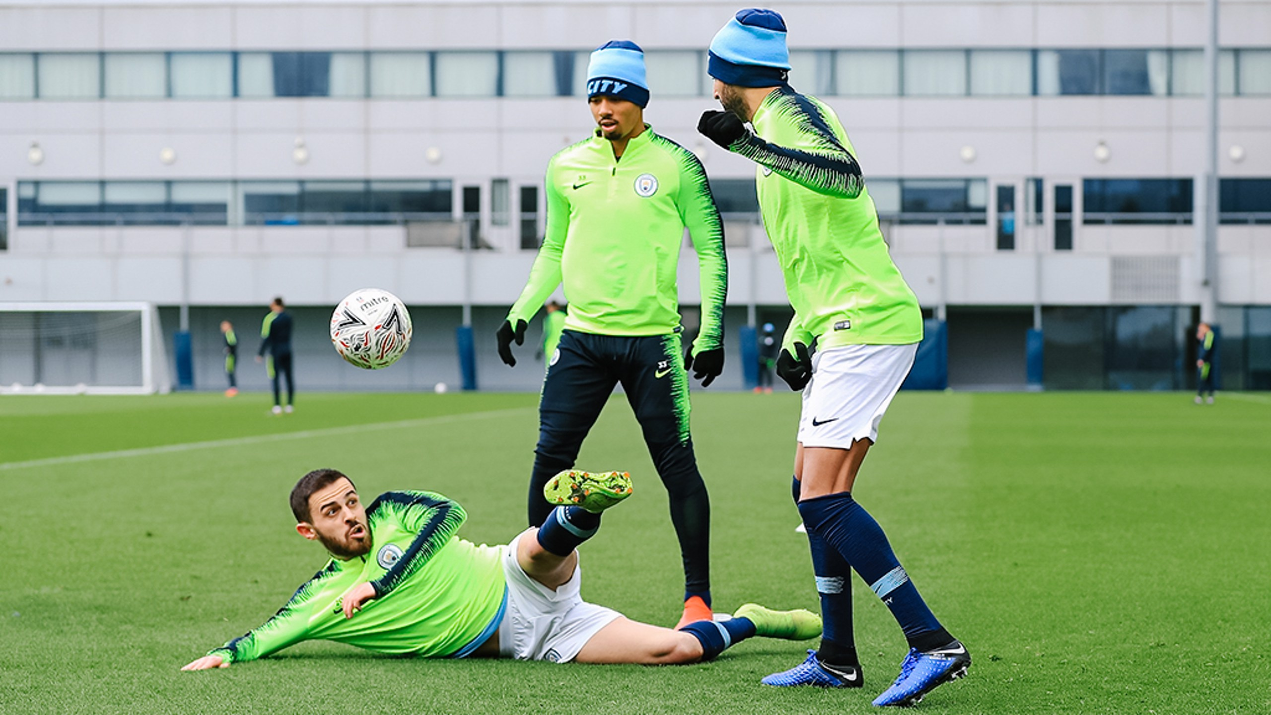 EYES HAVE IT: Bernardo demonstrates his magical ball-hovering powers under the gaze of Gabriel Jesus and Riyad Mahrez