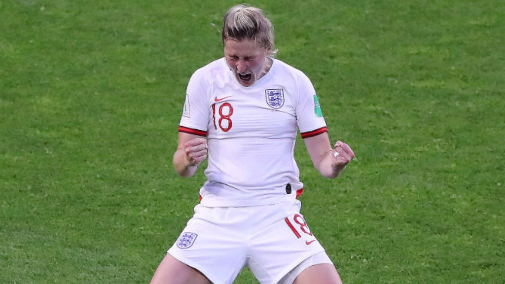 DOUBLE DELIGHT : Ellen White celebrates after making it 2-0 for England