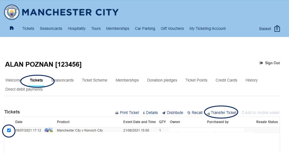 Ticket Transfer step 1
