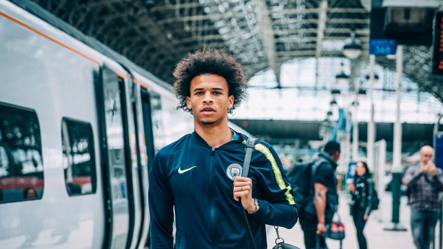 LONDON CALLING : Leroy Sane gets ready for the journey.