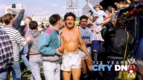 VALLEY OF BANANAS: Trevor Morley and Paul Lake are congratulated by City fans after winning promotion at Bradford