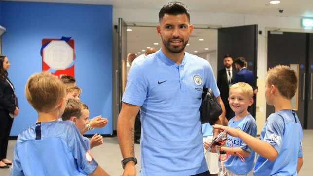 READY TO RUMBLE : Sergio Aguero greets some of the City mascots as he arrives at Wembley