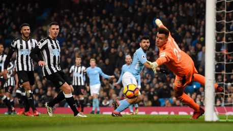 ON TARGET: Sergio Agüero watches on as his deft header finds the bottom corner to hand City the lead.