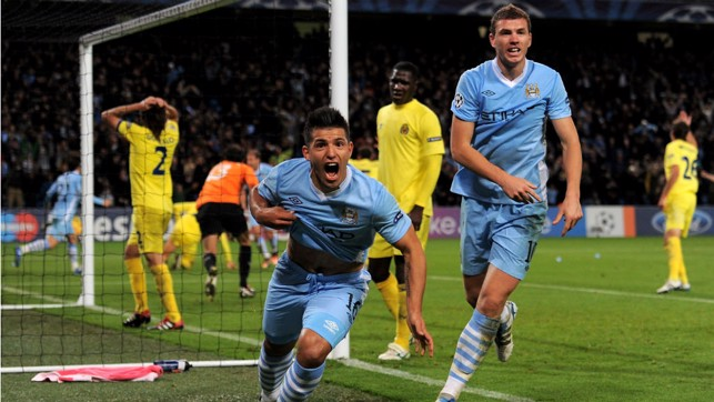 EURO FIGHTER : Sergio can't contain his delight after netting a dramatic stoppage time winner over Villareal in the Champions League in 2011