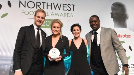 WINNER: Steph Houghton collects Women's Player of the Season at the North West Football Awards.
