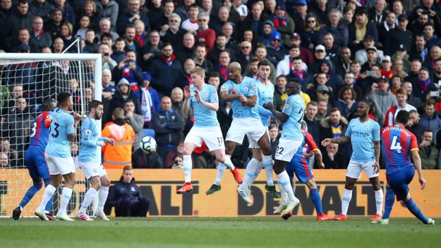 TENSE TIMES : A free-kick sees Palace grab a late goal back through Luka Milivojevic.