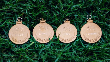 Manchester City award winners medals to four players from the 1967/68 First Division title-winning side