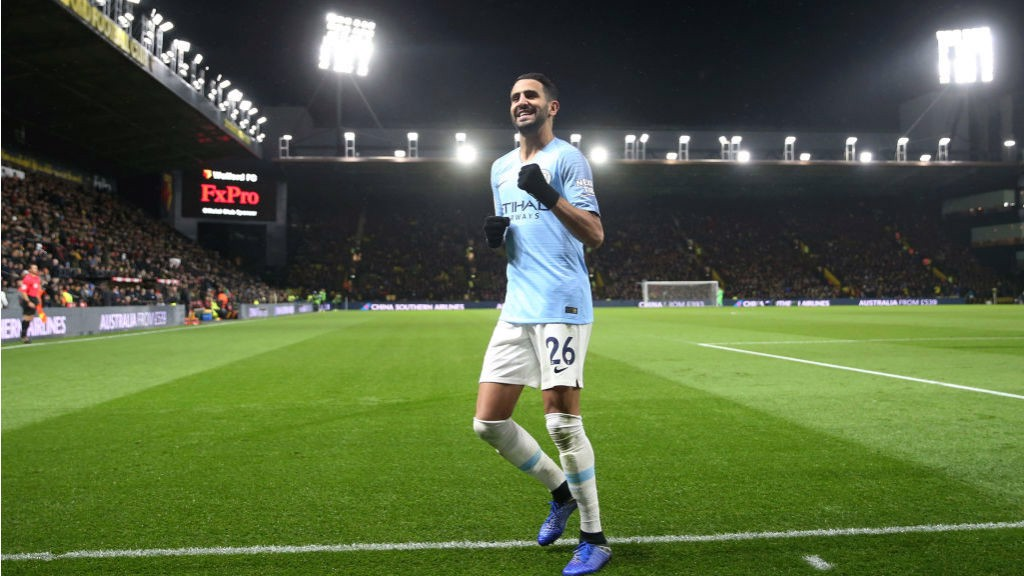 LIGHTING UP TIME : Riyad celebrates his goal in front of the travelling City fans