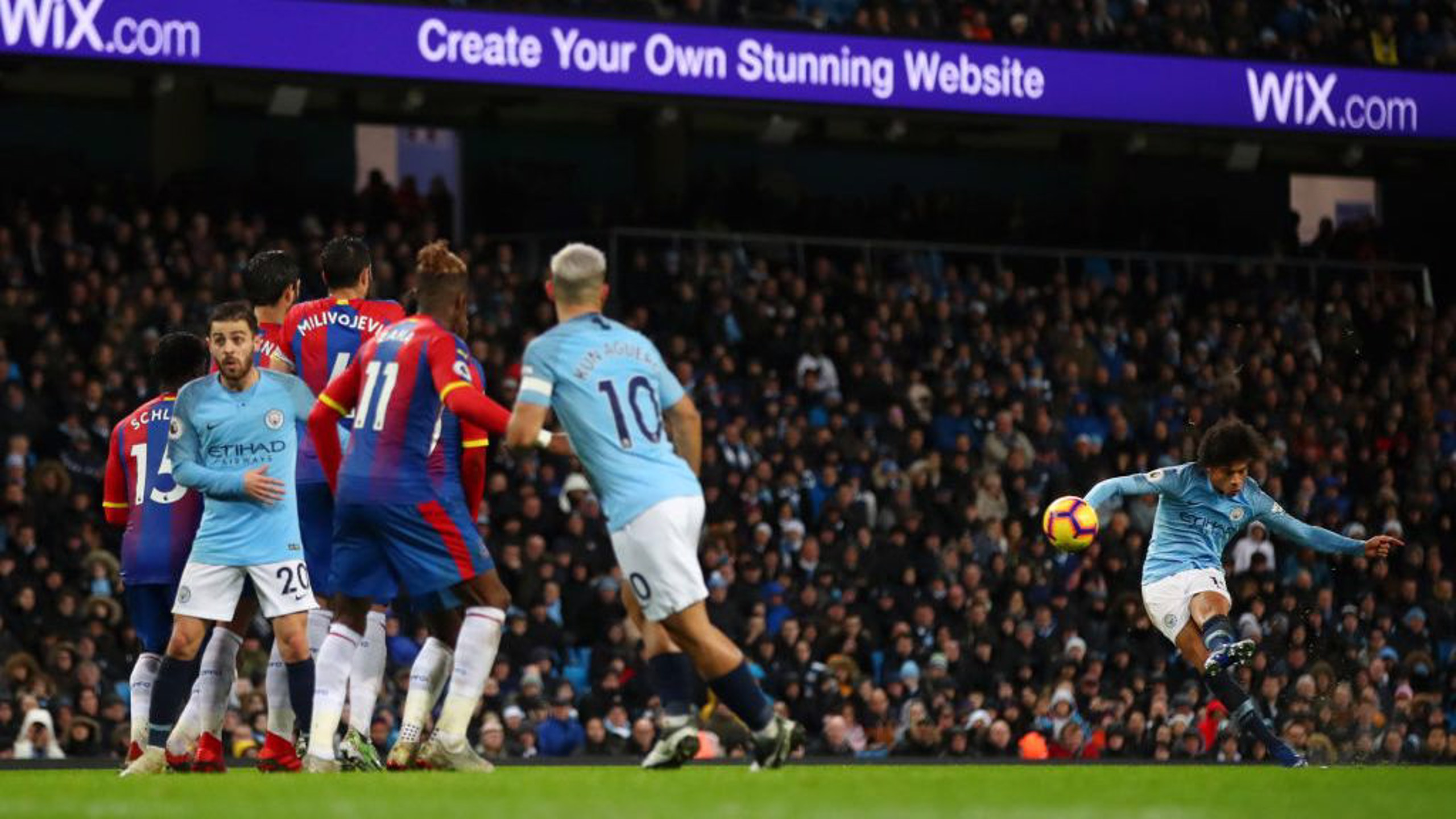 SO CLOSE: Leroy Sane's free kick hits the post