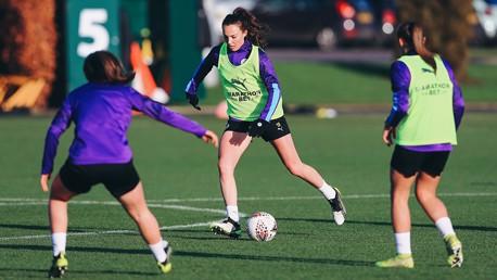 SWEET CAROLINE: Caroline Weir drives forward with possession