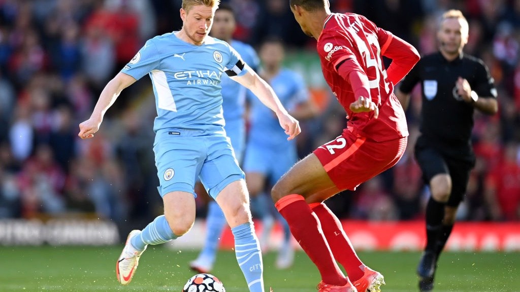 ACTION MAN: Kevin De Bruyne takes the fight to Liverpool