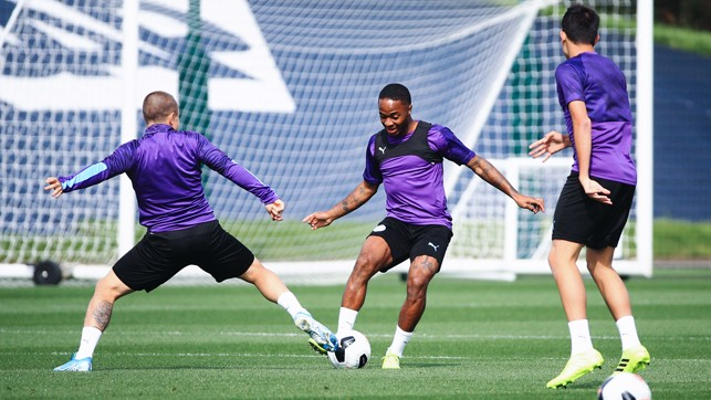 RAZZMATAZZ : Raheem Sterling shows his moves