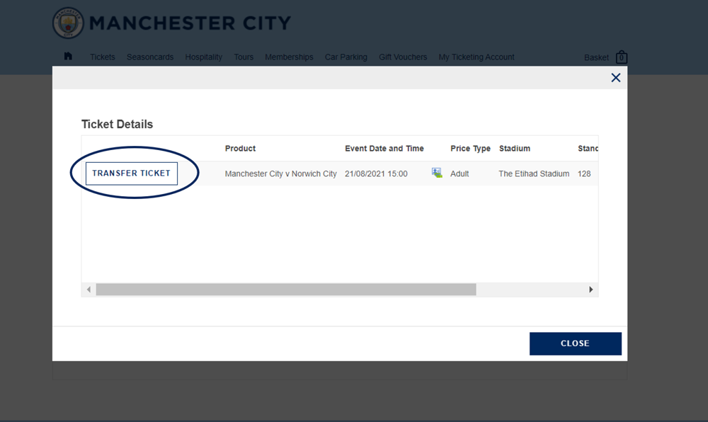 Ticket Transfer step 2