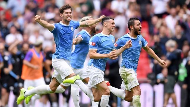 WINNING FEELING : City celebrate the club's sixth Community Shield success.