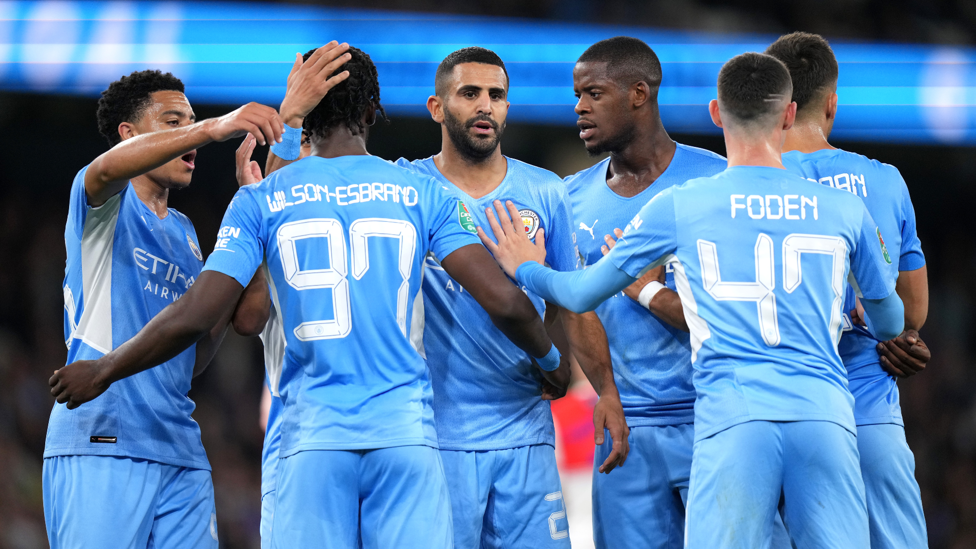 TEAM SPIRIT : Our young guns celebrate Mahrez's strike which gave us the lead.