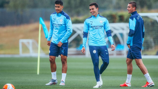 ALL SMILES: It was also great to see Eric Garcia back in training after his worrying knock against Arsenal